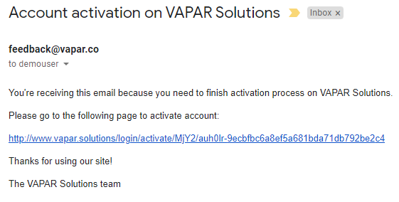 Account Activation Email